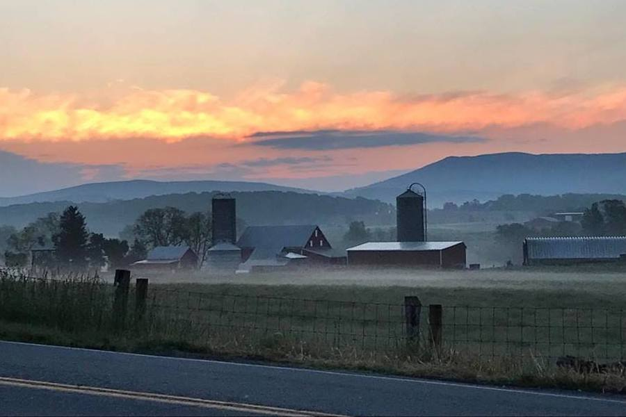 Sunrise over the mountains at Burner's Beef in Luray, VA